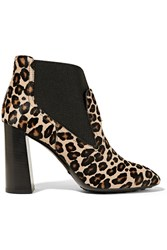 Tod's Leopard Print Calf Hair Ankle Boots