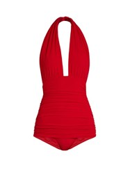 Norma Kamali Bill Halter Swimsuit Red