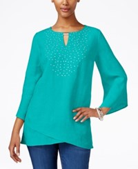 Jm Collection Linen Studded Tunic Only At Macy's Urban Aqua