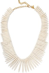 Kenneth Jay Lane Stone And Gold Tone Necklace White