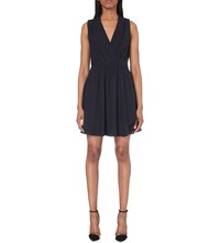 Reiss Electra Gathered Woven Dress Night Navy
