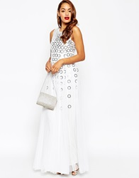 Asos Red Carpet Mesh Fit And Flare Maxi Dress With Ring Detail White