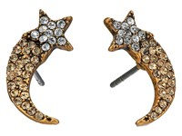 Marc Jacobs Charms Paradise Shooting Star Studs Earrings Crystal Antique Gold Earring Clear