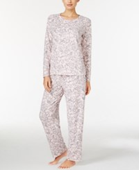 Charter Club Printed Thermal Fleece Pajama Set Only At Macy's Pink Scroll