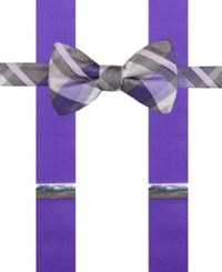 Alfani Spectrum Men's Asbury Plaid Pre Tied Bow Tie And Suspender Set Purple