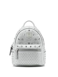 Mcm Bebe Boo Special Stark Studded Metallic Leather Backpack Wall Taupe