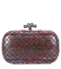 Bottega Veneta Knot Quilted Snakeskin Clutch Purple