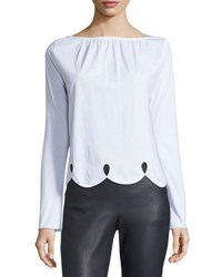 See By Chloe Long Sleeve Scalloped Jersey Tee White