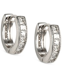 Judith Jack Sterling Silver And Cubic Zirconia Huggy Hoop Earrings