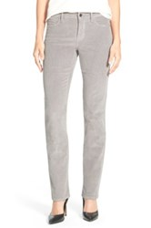 Nydj 'Marilyn' Stretch Straight Leg Corduroy Pants Petite Gray