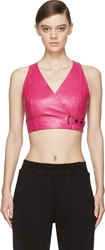 Alexander Wang Fuchsia Leather Wrapped Crop Top