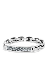 David Yurman Pave Streamline Id Bracelet In Silver With Gray Sapphire