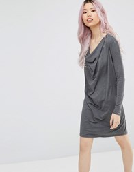 Ganni Cowl Neck Shift Dress Black Nature