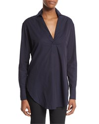 Petite Long Sleeve Cotton Lawn Tunic Midnight Navy Helmut Lang