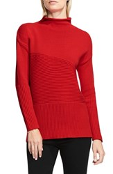 Vince Camuto Women's Rib Knit Turtleneck Sweater Fire Glow