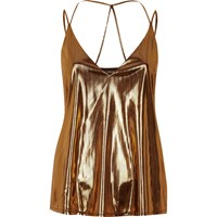 River Island Womens Metallic Brown Strappy Cami
