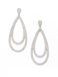 Adriana Orsini Double Loop Sparkle Earrings Silver