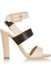 Sergio Rossi Color Block Leather Sandals Nude