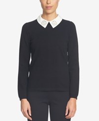 Cece Embellished Collared Sweater Rich Black