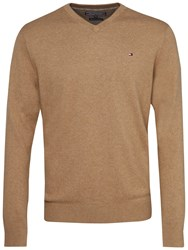 Tommy Hilfiger Pima Cotton Cashmere V Neck Jumper Tigers Eye Heather Snow White