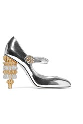 Dolce And Gabbana Embellished Metallic Leather Mary Jane Pumps Silver