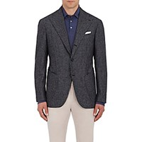 Sciamat Men's Micro Checked Wool Three Button Sportcoat Navy