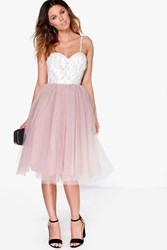 Boohoo Ana Corded Lace Tulle Prom Dress Multi