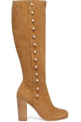 Maison Martin Margiela Buttoned Suede Knee Boots Tan