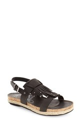 Women's Otbt 'Tourist' Fringe Sandal Black Leather
