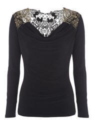 Jane Norman Black And Gold Brocade Back Top