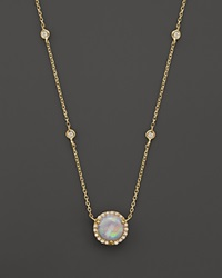 Bloomingdale's Opal And Diamond 4 Station Halo Pendant Necklace In 14K Yellow Gold 15