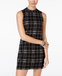Pink Rose Juniors' Plaid Shift Dress Black White