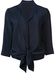 Peter Cohen Drape Collar Blouse Blue