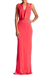 Abs By Allen Schwartz Sleeveless Cowl Neck Maxi Gown Red