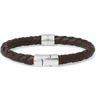 Bottega Veneta Intrecciato Leather And Silver Bracelet Brown