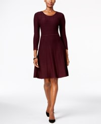 Jessica Howard Fit And Flare Sweater Dress Maroon