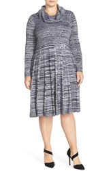 Calvin Klein Marled Cowl Neck Fit And Flare Sweater Dress Plus Size Black White