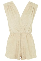 Faux Suede Wrap Playsuit By Rare Taupe