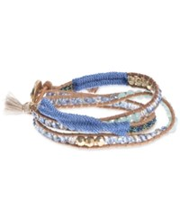 Lonna And Lilly Gold Tone Leather Beaded Wrap Bracelet Blue