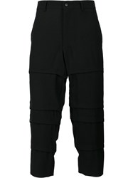 Comme Des Garcons Homme Plus Layered Cropped Trousers Black