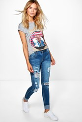 Boohoo Mid Rise Light Ripped Skinny Jeans Blue