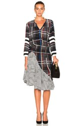 Preen Line Etta Dress In Black Checkered And Plaid Abstract Black Checkered And Plaid Abstract