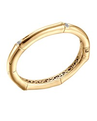 Bamboo 18K Gold And Diamond Hinge Bangle John Hardy Green