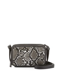 French Connection Amy Snake Embossed Crossbody Bag Black White