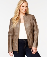 Alfani Plus Size Quilt Detailed Faux Leather Moto Jacket Only At Macy's Dark Beige