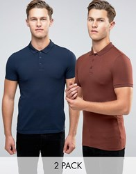 Asos 2 Pack Extreme Muscle Polo Shirt In Chestnut Navy Multi