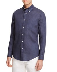 Brooks Brothers Linen Regular Fit Button Down Shirt Solid Navy
