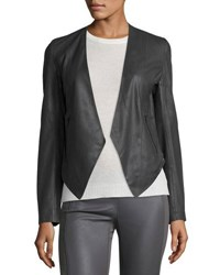 My Tribe Peaked Hem Leather Blazer Gray
