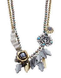 Gerard Yosca Faux Pearl And Flower Pendants Layered Necklace Gold