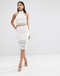Love Triangle Lace Bodycon Skirt White
